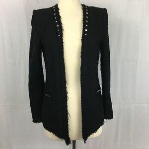 Zara Studded Black Tweed Studded Jacket Size S